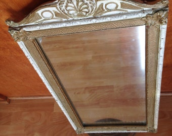 Antique Victorian Art Deco Wood and Gesso Mirror White and Gold Wall Mirror