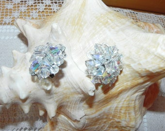"""Silver Tone Clear Round Cluster Beaded Crystal Clip on Earrings 1"""""""