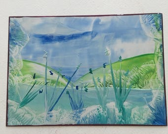 Encaustic Lake Landscape