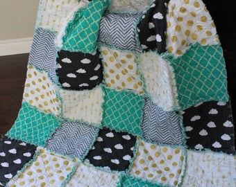Baby Rag Quilt,Gender Neutral,Baby Quilt, Clouds, Mint And Grey Nursery, Gold And Mint, Gold Arrow Quilt, Mint Green Blanket,Ready To Ship