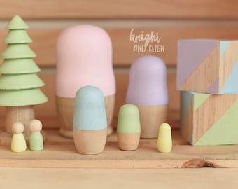 Pastel Wooden Nesting Dolls Minimalist Matrioska Matryoshka