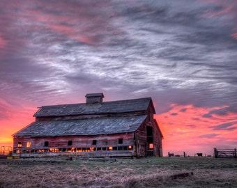 Barn on Fire, Old Barn at Sunrise, Pink Sunrise behind Old Barn