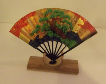 Oriental Fan with Wooden Stand