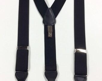 Vintage Trafalgar Suspenders Black Silk Silver Adjusters Black Paten Leather Button On & Clip On Suspenders Silk Made in England New