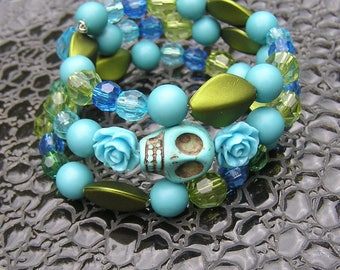 Day of the Dead Sugar skull Bracelet Wrap Around Memory 3 loops blues and greens cross