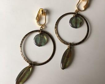 Boho Hoop Dangle Invisible Resin Clip On Earrings Long Drop Clip Earring Nonpierced