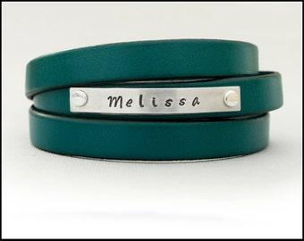Triple Wrap Custom Bracelet, Leather Name Bracelet, Womens Leather Bracelet, Personalized Gift for Girlfriend or Best Friend, Jules At Nine