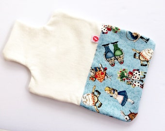 SALE Lucy & Mabs Bamboo Organic Cotton Hot Water Bottle Cover Cozy gift / Alice in Wonderland