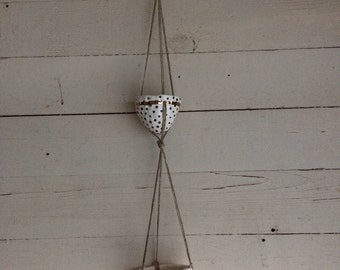 Double Hanging Planter w/ Handpainted B&W Polka Dot Design and Gold Line Accents / Earthenware Double Hanging Ceramic Vessel w/ Gold Luster