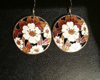 Vintage floral cutout cloissone drop earrings, spring earrings, flower earrings