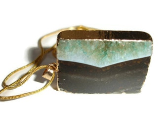 Druzy Necklace Agate Gemstone Necklace Teal Crystal Necklace Large Agate Slab Necklace Agate Necklace Square Gemstone large Gemstone drop