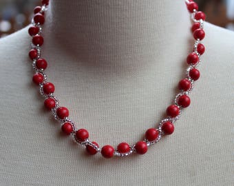 Red braided with Howlite neck collar