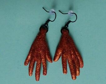 Topaz glitter hand earrings
