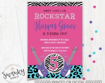 Rock Star Birthday Invitations, Girls Guitar Birthday Invitations, Pink and Purple Birthday, Rock Star Party Theme, Zebra and Leopard Print
