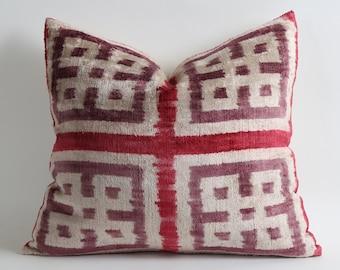 Velvet Ikat Pillow Cover - Pale Red Purple Soft Velvet Handwoven Decorative Pillow For Couch Ikat Cushion Cover Livingroom Decor