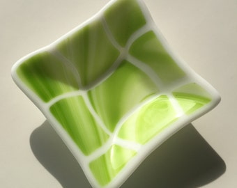 Swirly Lime Green Fused Glass Dish
