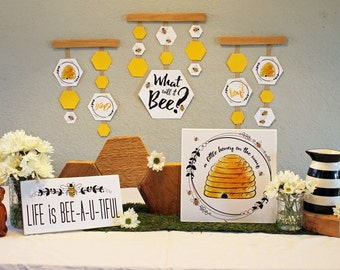 Bee themed Gender Reveal decorations