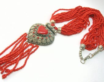 Vintage Ethnic/Tribal Orange Necklace - Multi Strand with Metal Pendant - Vintage Necklaces.