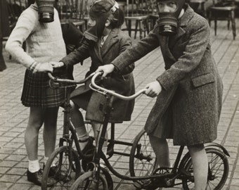 WWII, Children on Bicycles, Wearing Gas Masks, 1940's : Photo Print