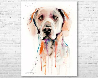 Weimaraner 2 watercolor painting print by Slaveika Aladjova, animal, illustration, home decor, Nursery, Contemporary, dog art, wall art