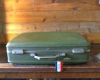 Vintage Luggage/SuitCase Vintage Hard Shell Green American Tourister Tiara Vinyl Suitcase No. 101