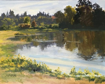 Morning Calm - Original contemporary Landscape painting - Oil Painting