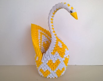 3d Origami Paper Swan Yellow Heart Home Decor Anniversary Birthday Valentine Love Gift