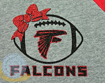 Atlanta Falcons Football with Bow T-Shirt Youth and Children