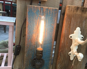 Reclaimed Barn wood Sconce Edison light
