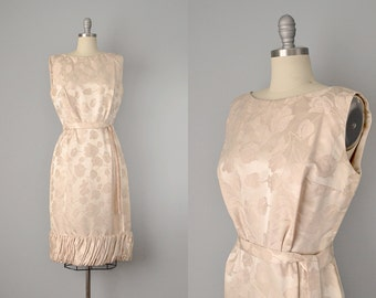 RESERVED / 60s Dress // 1960's Champagne Silk Brocade Dress w/ Bubble Hem // M