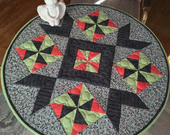 Round Gray, Black, Green and Orange Table Topper