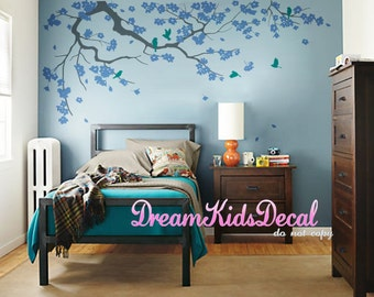 Wall Decal Cherry Blossom branch vinyl wall decals,Wall sticker,Nursery girl baby wall decals-Flower Tree with Teal flying birds-DK121