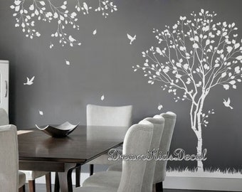 arbre naturel sticker arbre blanc sticker mural oiseaux. Black Bedroom Furniture Sets. Home Design Ideas