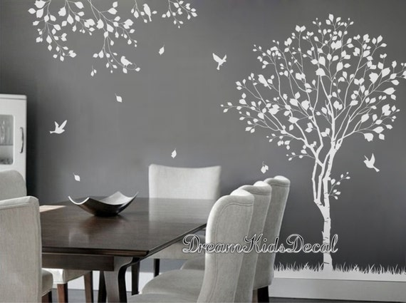 Arbre naturel sticker arbre arbre blanc stickers muraux for Decoration murale a coller