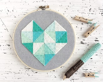 Sample Sale and Ready to Ship! Geometric Heart - Felt and Embroidery - White Linen and Wool Felt - Teal, Mint and Blues