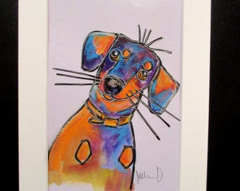 Dachshund..An original watercolour, pen and pastel painting by Suzanne Patterson.Stylised