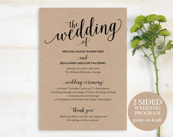 Wedding Program Template, Rustic Wedding Program, Printable Program, DIY Wedding Program, Program Template, Ceremony Program, PDF, MM01-2