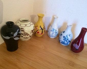 Vintage Collection of 6  Dynasty miniature vases  - Korea , Japan , China, No. K-67, J-19,J-33,C-62,K-14,K-11