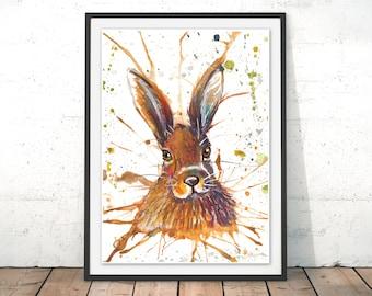 Hare Illustration, Hare Art Print, Rabbit wall art, Hare painting, Framed Print, Hare watercolour home decor pastel inks Hare giclee print