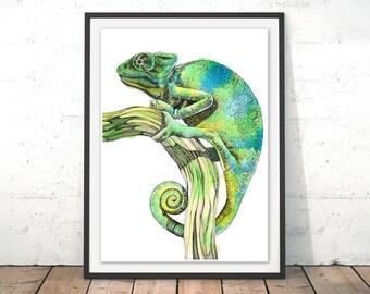 Green Chameleon Poster, Chameleon Illustration, Gorgeous Chameleon Art Print, Chameleon Wall Art, Chameleon Gecko, Tropical Print