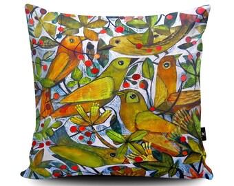 Yellow Birds Cushion, Yellow Birds Pillow, Birds and Berries Decorative Cushion, Floral Bedding, Floral Homewares, Birds Soft Furnishing