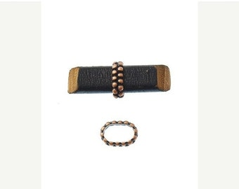 On Sale NOW 25%OFF Beaded Ring Spacers For 10x6mm Licorice Leather - Antique Copper - Z3609 Qty 4