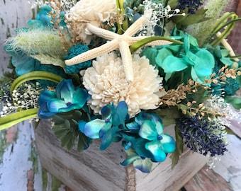 Blue Centerpiece, Beach Centerpiece, Blue Beach Centerpiece, Vintage Centerpiece, Wood Box Centerpiece, Silk Flower Centerpiece