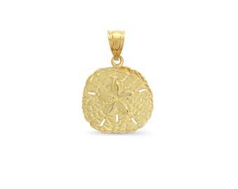 14k solid gold sand dollar pendant. sea life jewelry.