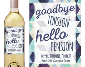 Retirement Gifts - Custom Wine Label - Personalized Wine Label - Wine Bottle Label - Retirement - Retirement Party - Retirement Decorations