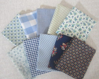 10 Fat Quarter Bundle Pack Vintage Fabrics Beautiful Blues Fat Quarter Bundle  Blue Floral Fabric