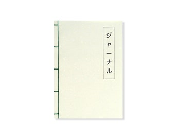 A5 Notebook - Japanese Stab Binding, Green, Grid Notebook / Lined Notebook / Blank Pages, Stationery, Bucket List Journal