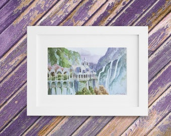Fantasy Painting - Rivendell Painting - Original Small Watercolor Painting - Lord of the Rings Landscape - 9 x 5