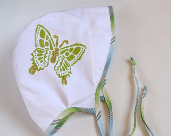 Baby sun hat with green butterfly, summer hat, baby bonnet, sun bonnet, beach hat, 12-18 month ready to ship, newborn to toddler sizes