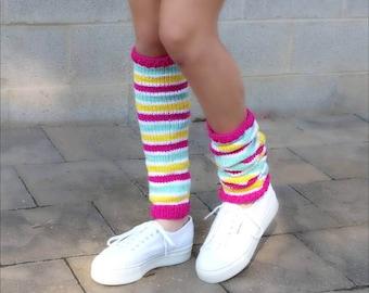 Unicorn Leg warmers womens, teenage girls knit leg warmers long, colorful, rainbow leg warmers for women, gift for her, slouchy leg warmers